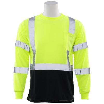 9804S 2X Class 3 Long Sleeve Hi-Viz Lime/Black Bottom Unisex Poly Jersey T-Shirt
