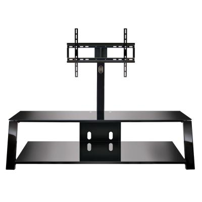Triple Play 63 in. Black Metal TV Stand Fits TVs Up to 70 in. with Flat Screen Mount