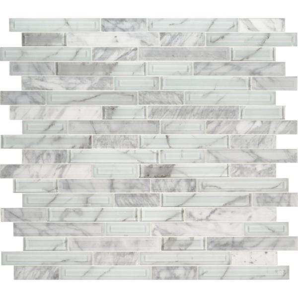 Blocki Blanco Interlocking 12.2 in. x 11.61 in. x 8mm Glass Stone Mesh-Mounted Mosaic Tile (9.8 sq. ft. / case)
