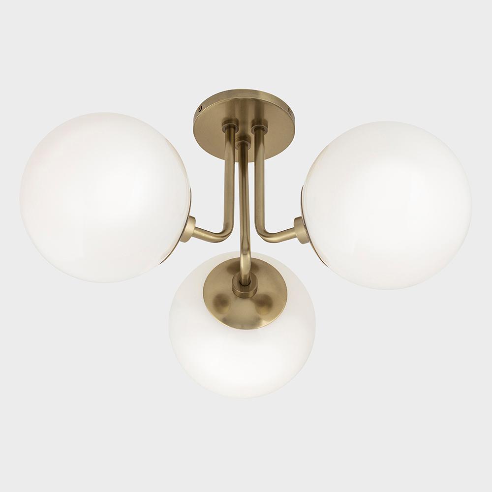 Jack 3-Light Aged Brass Semi-Flush Mount with Opal Glossy Glass