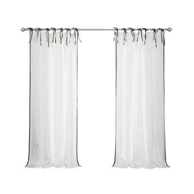 Oxford Outdoor 52 in. W x 96 in. L Tie Top Black Border Curtains in White(2-Pack)