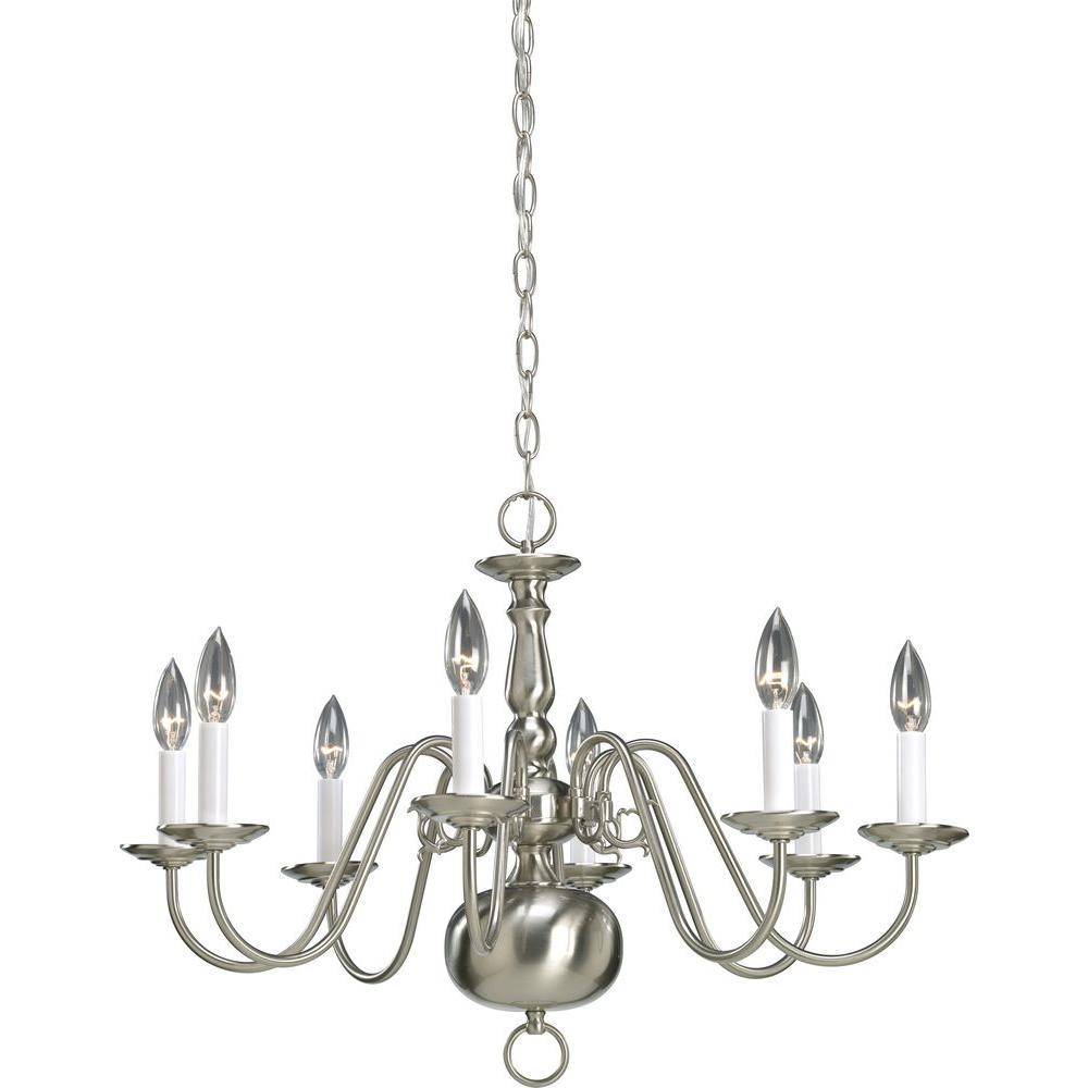 Progress Lighting Americana Collection 8-Light Brushed Nickel Chandelier