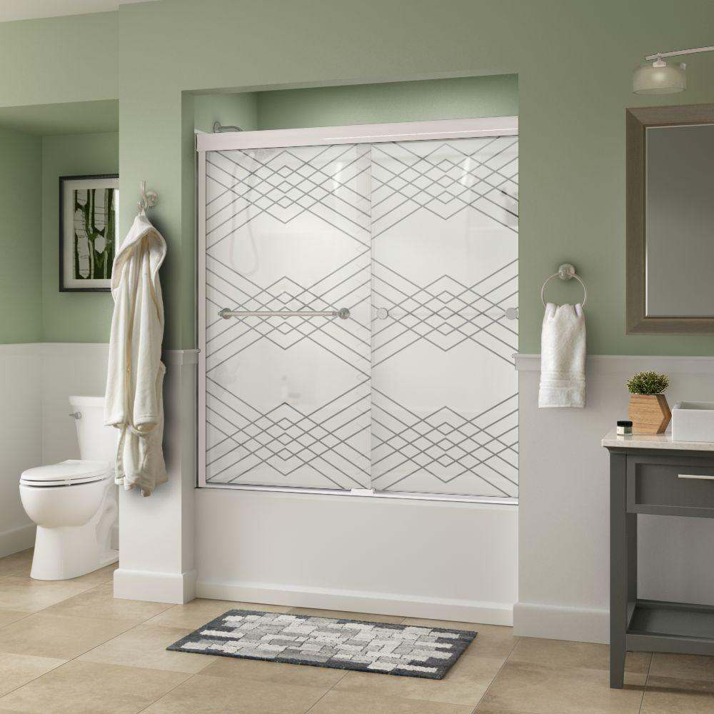 Mandara 60 in. x 58-1/8 in. Traditional Semi-Frameless Sliding Tub Door