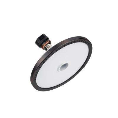 Tenaya PLUS 1-Spray 5 in. Round Fixed Showerhead with All Metal Construction in Powder Coated White with Bronze Accents