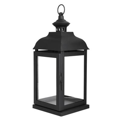 14 in. Traditional Black Steel Outdoor Patio Lantern