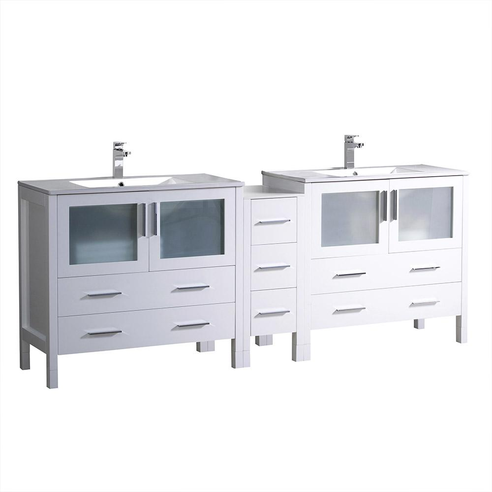 Fresca Torino 84 in. Double Vanity in White with Ceramic Vanity Top in White with White Basins