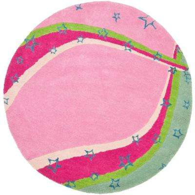 Kids Green/Pink 4 ft. x 4 ft. Round Area Rug