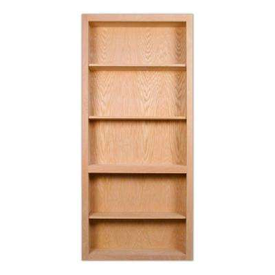 32 in. x 80 in. Flush Mount Assembled Red Oak Unfinished Wood 4-Shelf Interior Bookcase Door