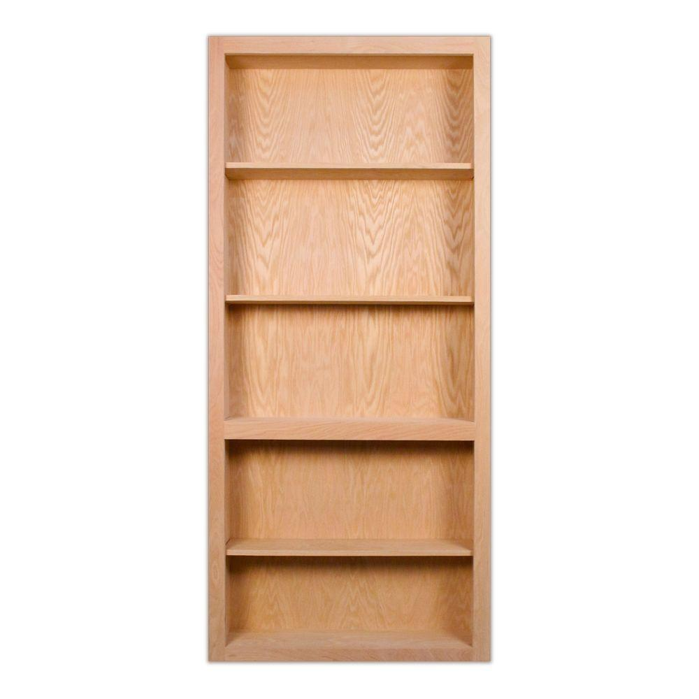 InvisiDoor 32 in. x 81 in. Unfinished Red Oak 4-Shelf Bookcase Interior Door Slab