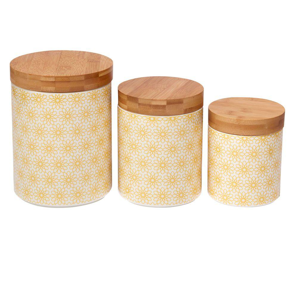 Daisy Dots 3-Piece Canister Set with Bamboo Lids