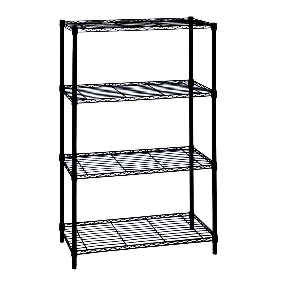 HDX 4-Tier Wire Garage Storage Shelving Unit in Black (36 in. W x 54 in. H x 14 in. D)
