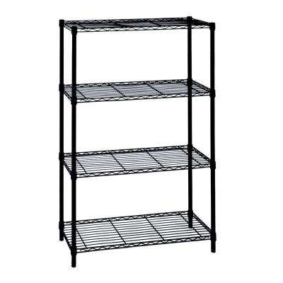 54 in. H x 36 in. W x 14 in. D 4-Tier Wire Shelving Unit in Black