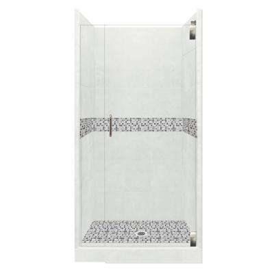 Del Mar Grand Hinged 42 in. x 42 in. x 80 in. Center Drain Alcove Shower Kit in Natural Buff and Chrome Hardware