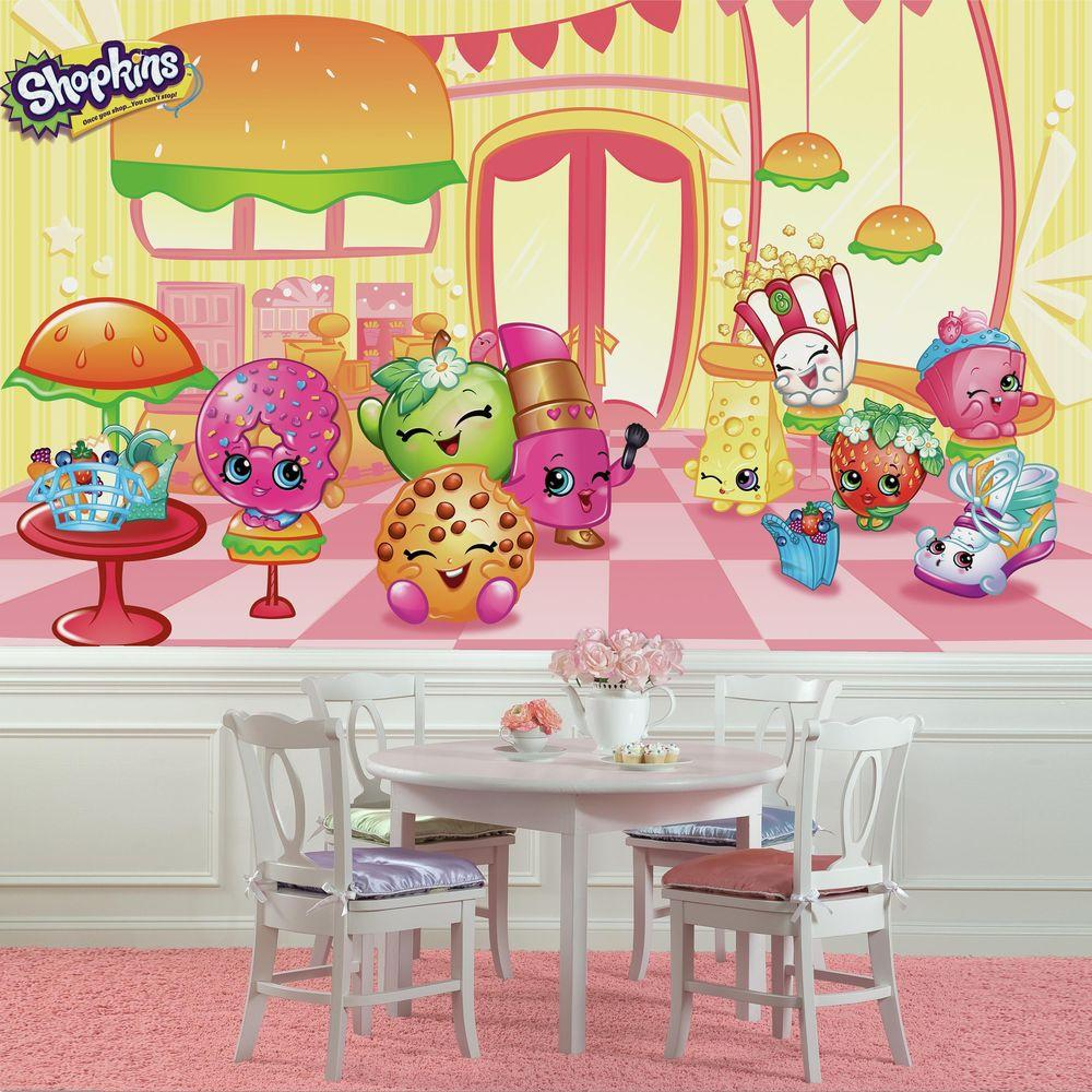 RoomMates 72 in. x 126 in. Shopkins XL Chair Rail 7-Panel Pre-Pasted Wall Mural
