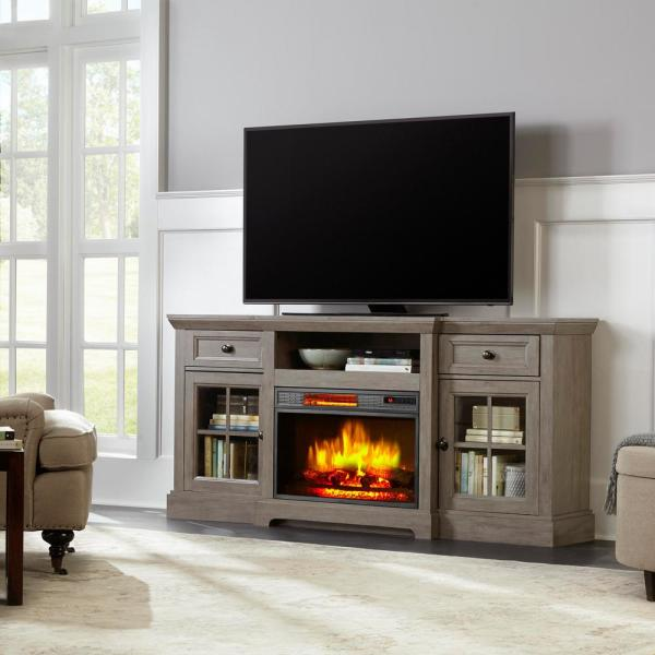Home Decorators Collection Glenville 70 In Freestanding Electric Fireplace Tv Stand In Antique Gray Brickseek