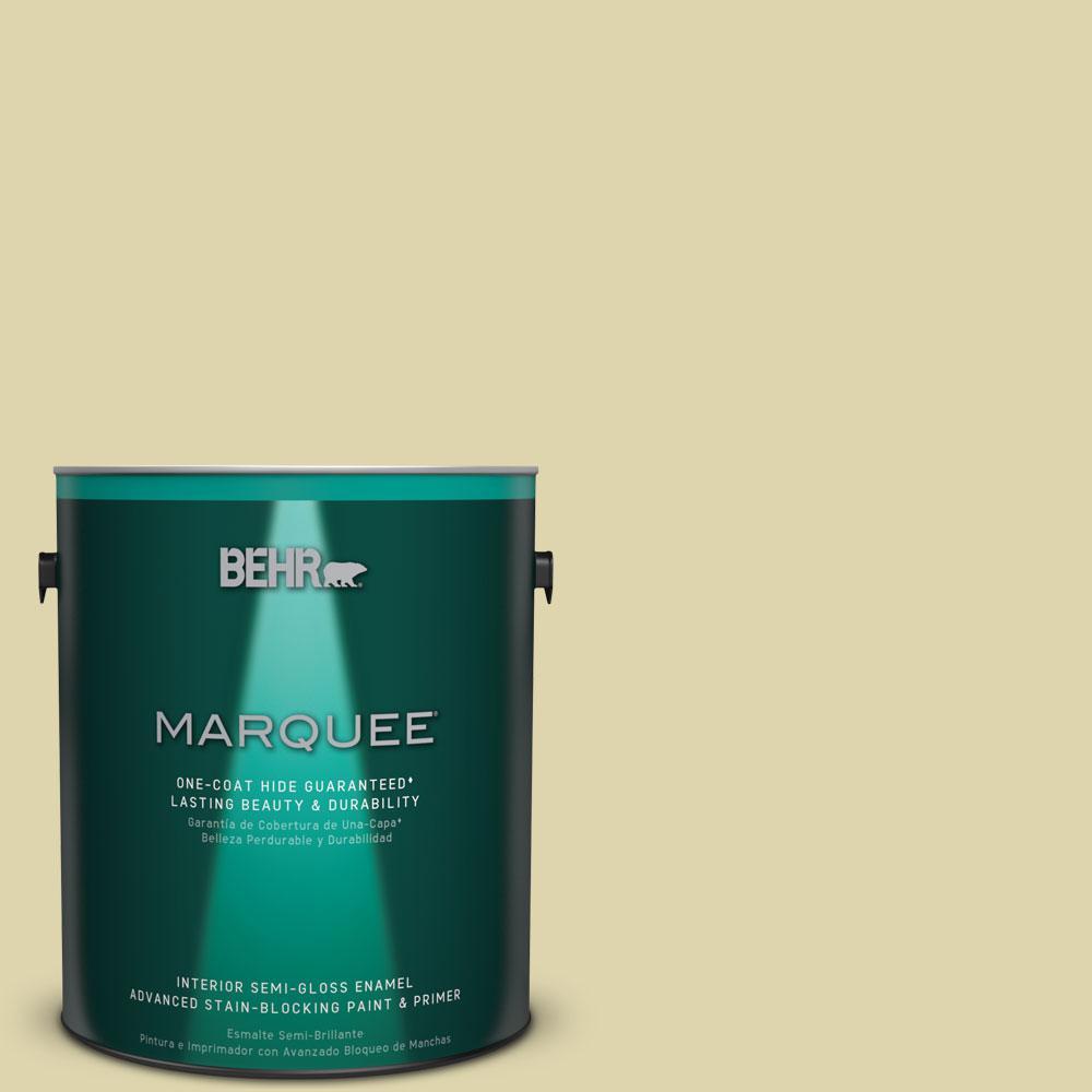 1 gal. #MQ4-40 Primitive Green One-Coat Hide Semi-Gloss Enamel Interior Paint