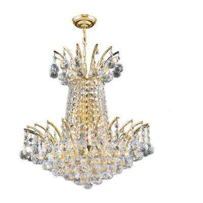 Empire Collection 4-Light Polished Gold with Clear Crystal Chandelier