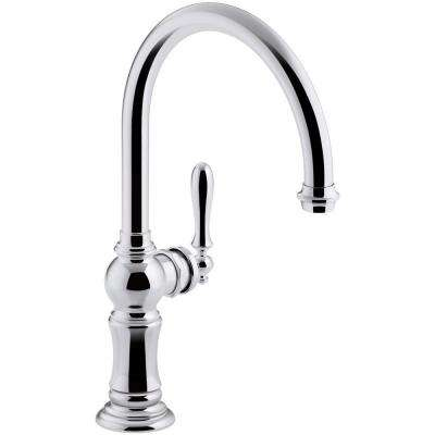 Artifacts Swing Spout Single-Handle Standard Kitchen Faucet in Polished Chrome