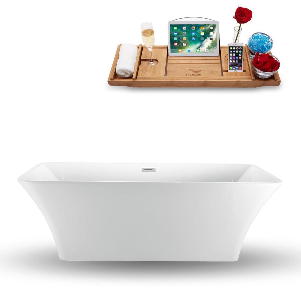 70.9 in. Acrylic Fiberglass Flatbottom Non-Whirlpool Bathtub in White