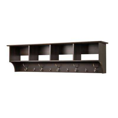 60 in. Wall-Mounted Coat Rack in Espresso