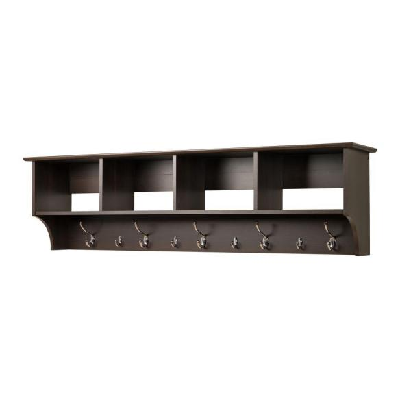 Prepac 60 in. Wall-Mounted Coat Rack in Espresso EEC-6016