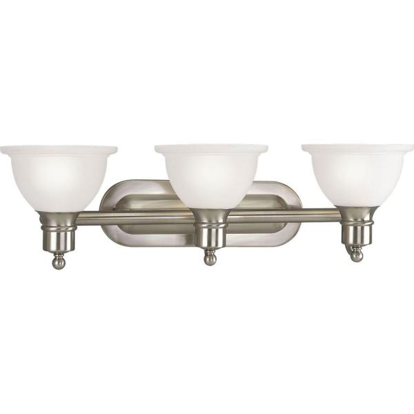 Madison Collection 27.5 in. 3-Light Brushed Nickel Bathroom Vanity Light with Glass Shades