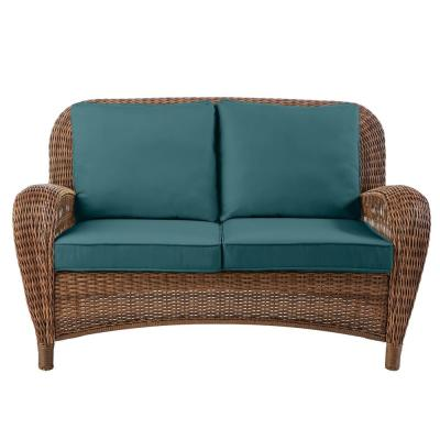 Beacon Park Brown Wicker Outdoor Patio Loveseat with CushionGuard Charleston Blue-Green Cushions