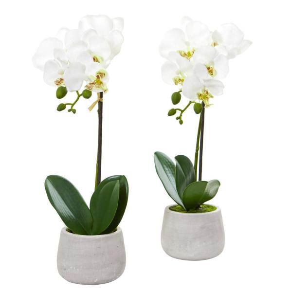 Nearly Natural Indoor Phalaenopsis Orchid Artificial Arrangement (Set of 2)