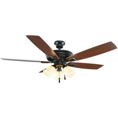Gazelle 52 in. Indoor/Outdoor Natural Iron Ceiling Fan with Light Kit and Shatter Resistant Shades