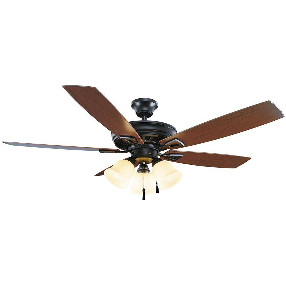 Home Decorators Collection Gazelle 52 in. Indoor/Outdoor Natural Iron Ceiling Fan with Light Kit and Shatter Resistant Shades