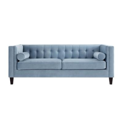 Miah 34 in. Slate Blue Velvet 3-Seater Tuxedo Sofa with Removable Cushions