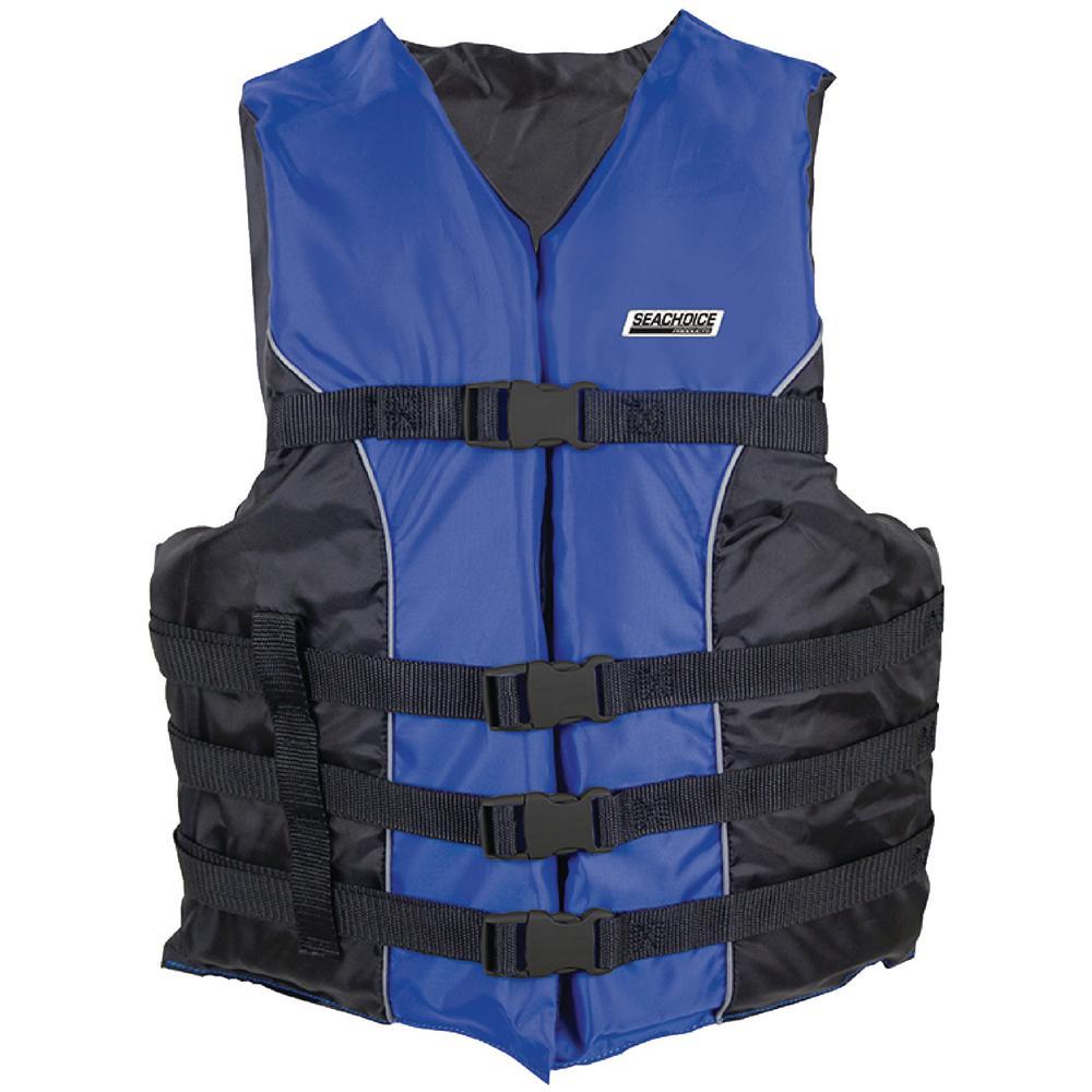 Deluxe Type III Large/X-Large Size 4-Belt Ski Vest, Blue