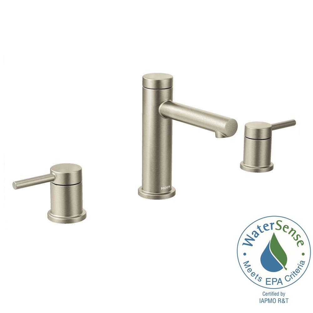 Moen align 8 in widespread 2 handle bathroom faucet trim for 8 bathroom faucet in brushed nickel