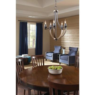 Corbeille 27 in. W 9-Light Weathered Gray and Distressed Oak Multi Tier Chandelier