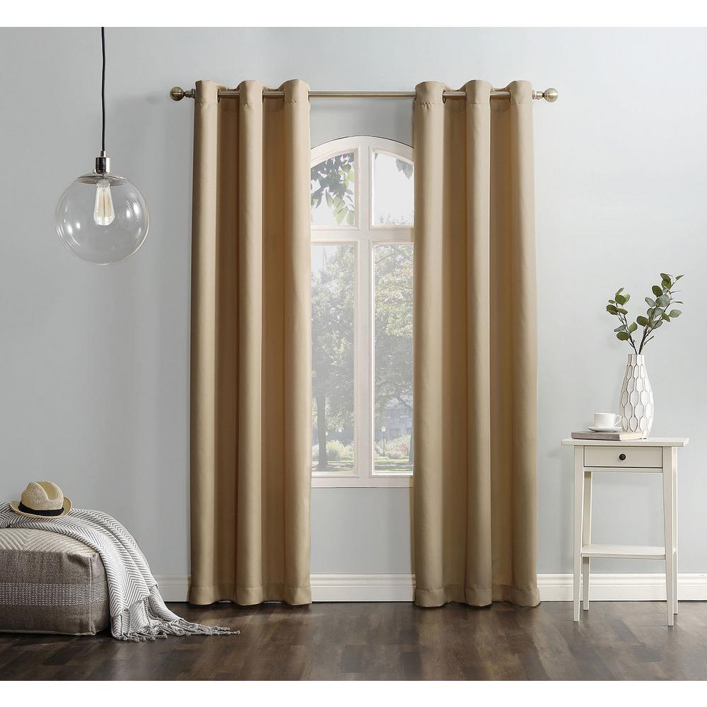null Semi-Opaque Taupe No. 918 Casual Montego Woven Grommet Top Curtain Panel, 48 in. W x 63 in. L