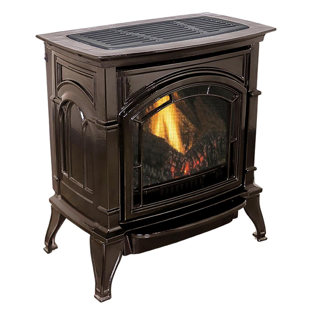 31,000 BTU Vent Free Natural Gas Stove Mahogany Enameled Porcelain Cast