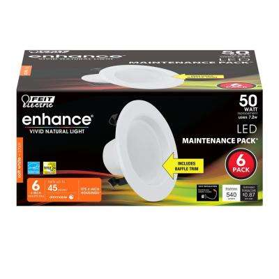 4 in. 50-Watt Equivalent Soft White 2700K CEC Title 24 White Integrated LED Recessed Retrofit Trim Downlight (6-Pack)