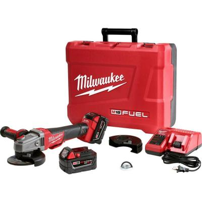 M18 FUEL 18-Volt Lithium-Ion Brushless Cordless 4-1/2 in./5 in. Braking Grinder Kit w/Two 5.0Ah Batteries and Hard Case