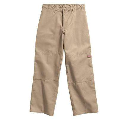 Loose Fit 34 in. x 30 in. Polyester Double Knee Multi-Use Pocket Pant Khaki