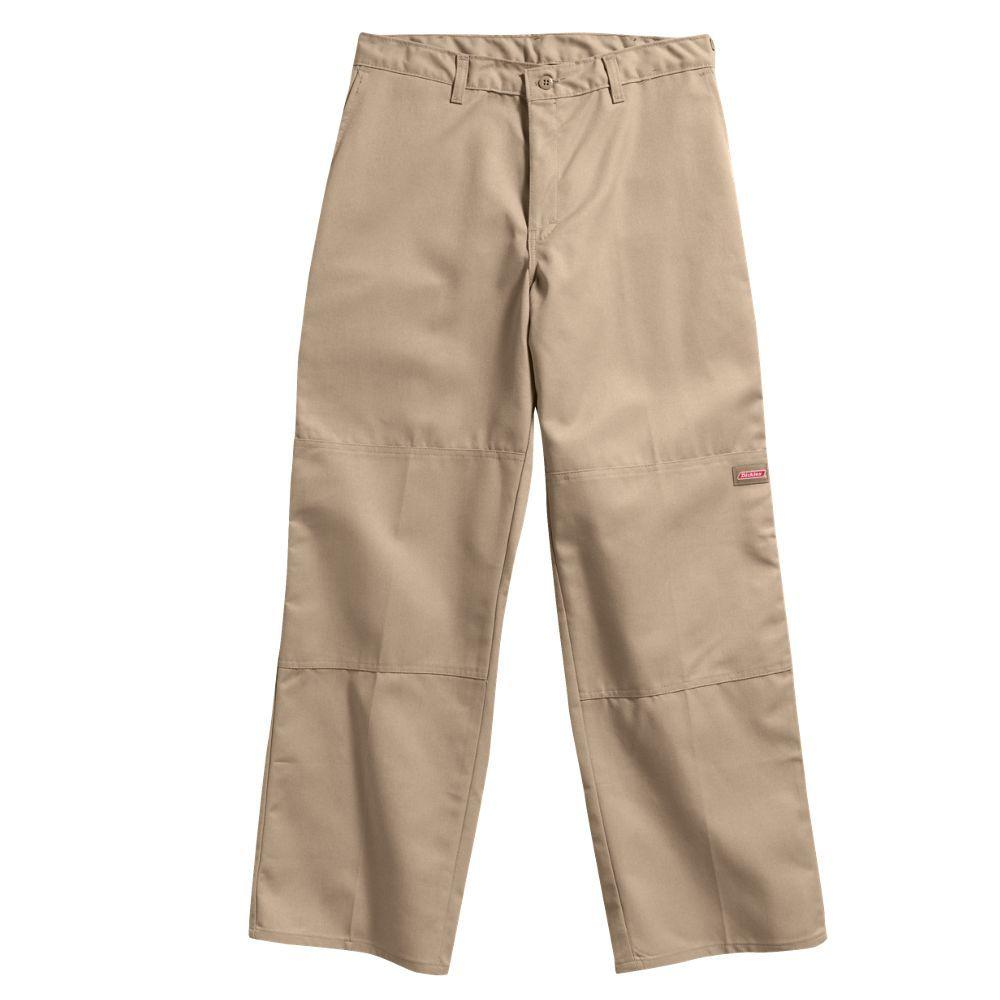 Dickies Loose Fit 36 in. x 34 in. Polyester Double Knee Multi-Use Pocket Pant Khaki