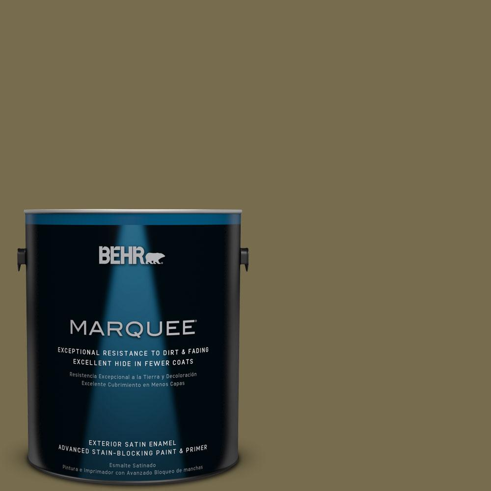 BEHR MARQUEE 1-gal. #PPU8-1 Olive Satin Enamel Exterior Paint