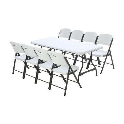 6 ft. White Granite Stacking Table and Chair Combo (8-Pack)