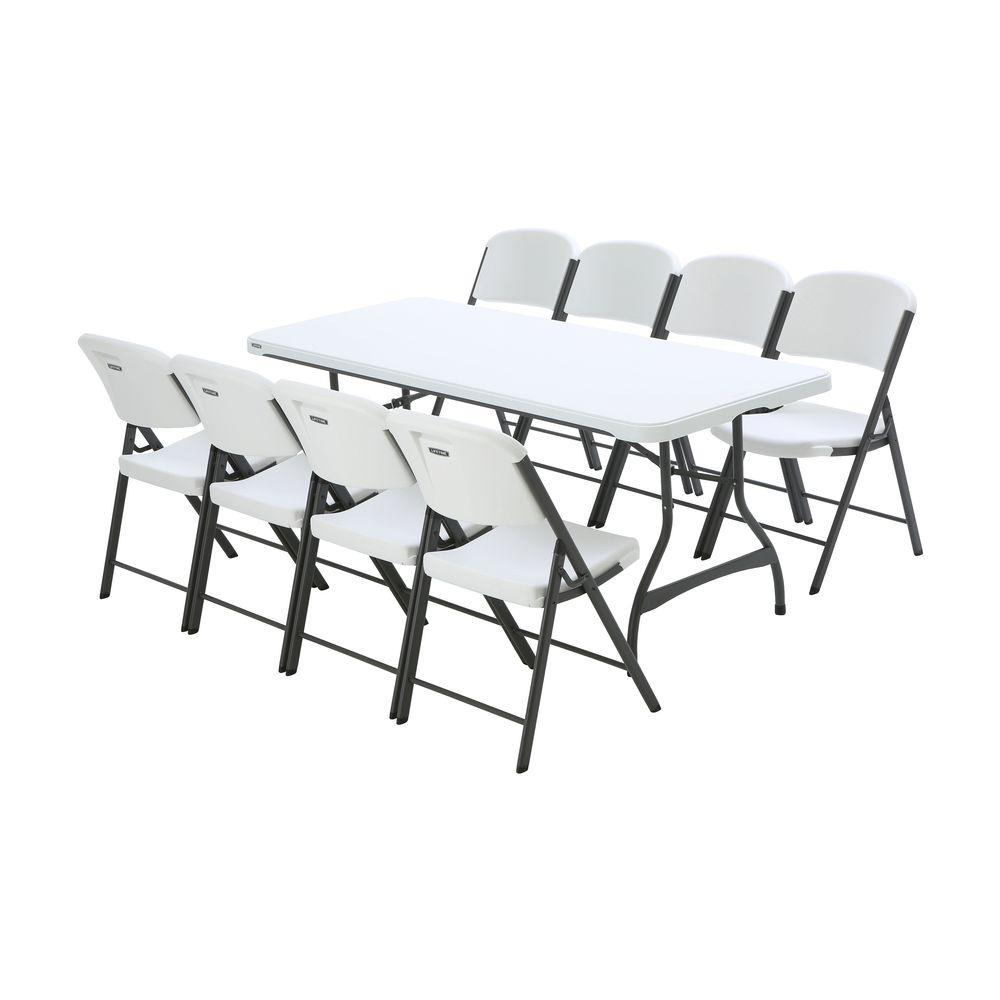 Lifetime 6 ft White Granite Stacking Table and Chair Combo 8Pack