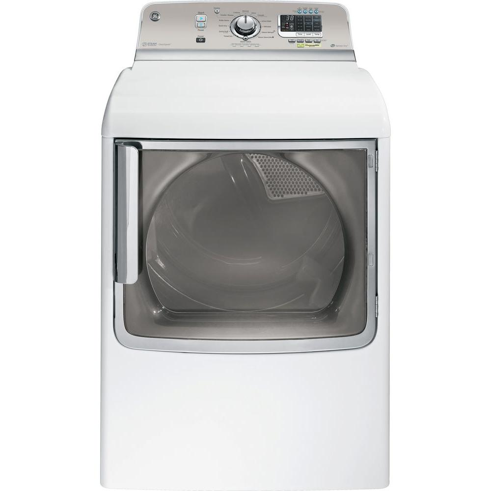 GE 7.8 cu. ft. Electric Dryer with Steam in White