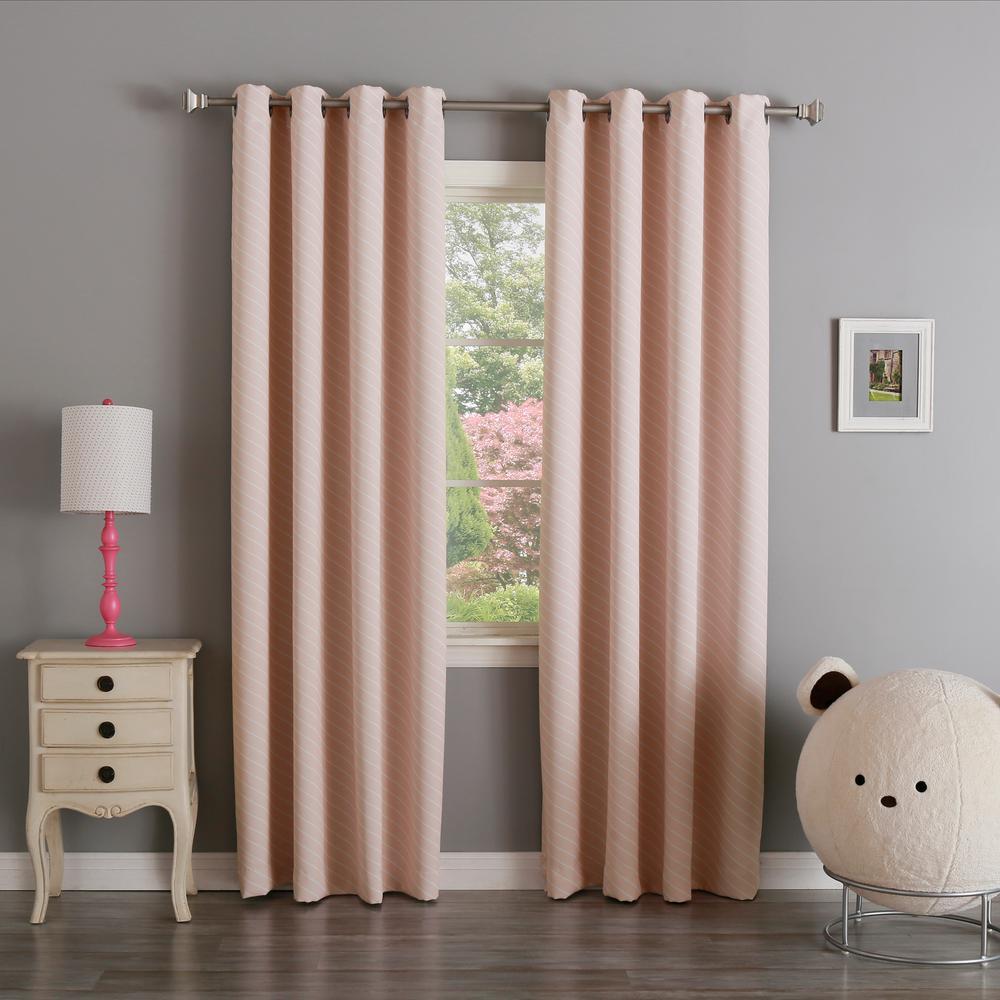 L Room Darkening Diagonal Stripe Curtain Panel In Baby Pink 2
