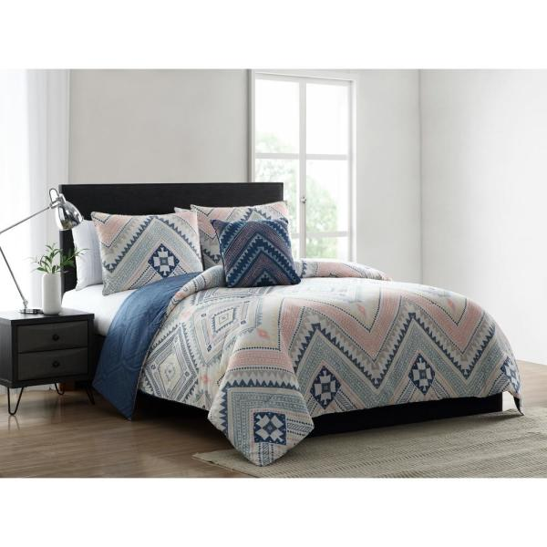 Mhf Home Sarah Blue And Pink Tribal Print Full Queen Comforter Set