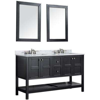 Montaigne 60 in. W x 35.75 in. H Bath Vanity in Black with Marble Vanity Top in Carrara White w/ White Basin and Mirror