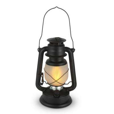 11 in. Black FireGlow Glass Hurricane Lantern