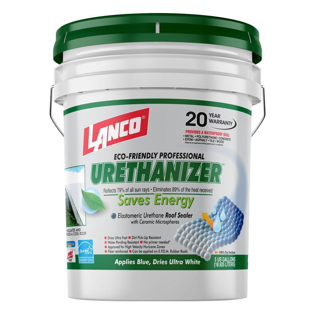Lanco 5 Gal Urethanizer 100 Acrylic Elastomeric Reflective Roof Coating With Eco Friendly Technology Rc994 2 The Home Depot