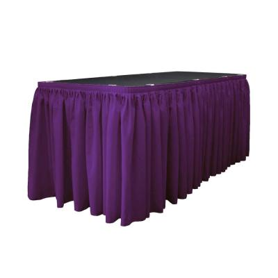 14 ft. x 29 in. Long Purple Polyester Poplin Table Skirt with 10 L-Clips